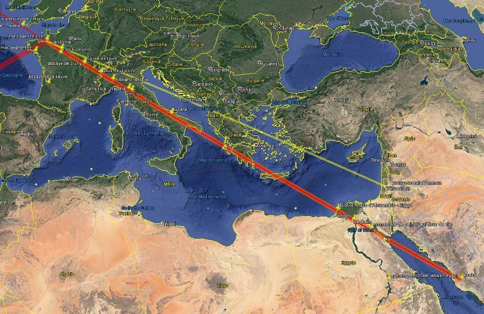 La reliance ReXxel entre la Kaaba, Alexandrie et … Léonard de Vinci